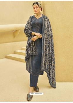 Grey Designer Festive Wear Exotic Velvet Salwar Suit