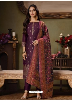 Deep Wine Designer Festive Wear Catonic Silk Jacquard Salwar Suit