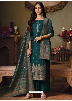 Teal Designer Festive Wear Catonic Silk Jacquard Salwar Suit