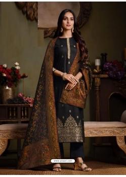 Black Designer Festive Wear Catonic Silk Jacquard Salwar Suit
