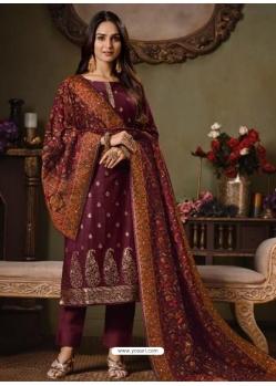 Maroon Designer Festive Wear Catonic Silk Jacquard Salwar Suit