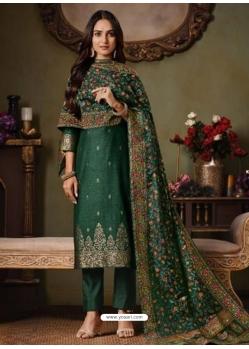 Dark Green Designer Festive Wear Catonic Silk Jacquard Salwar Suit