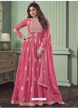 Light Pink Designer Bridal Wear Real Georgette Anarkali Suit