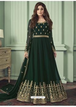 Dark Green Designer Bridal Wear Real Georgette Anarkali Suit