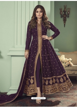 Purple Designer Bridal Wear Real Georgette Anarkali Suit