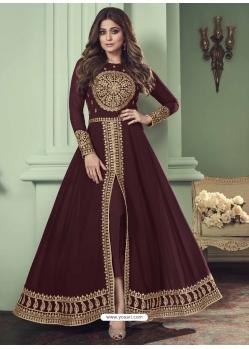 Maroon Designer Bridal Wear Real Georgette Anarkali Suit