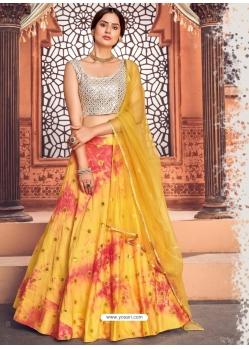 Yellow Heavy Designer Festive Wear Lehenga Choli