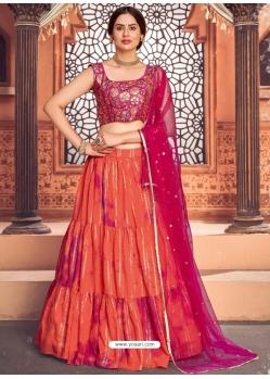 Orange Heavy Designer Festive Wear Lehenga Choli