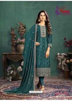 Teal Designer Party Wear Silk Churidar Salwar Suit