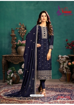 Navy Blue Designer Party Wear Silk Churidar Salwar Suit