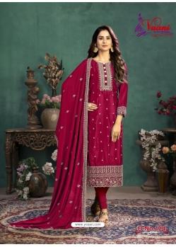 Rose Red Designer Party Wear Silk Churidar Salwar Suit
