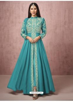 Turquoise Readymade Designer Wedding Wear Real Georgette Anarkali Suit
