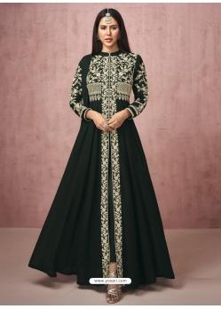 Black Readymade Designer Wedding Wear Real Georgette Anarkali Suit
