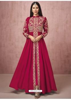 Rose Red Readymade Designer Wedding Wear Real Georgette Anarkali Suit
