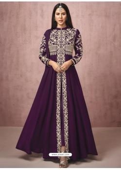Purple Readymade Designer Wedding Wear Real Georgette Anarkali Suit