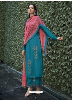 Teal Blue Designer Party Wear Pure Viscose Silk Straight Salwar Suit