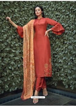 Rust Designer Party Wear Pure Viscose Silk Straight Salwar Suit