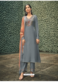 Grey Designer Party Wear Pure Viscose Silk Straight Salwar Suit
