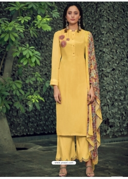 Yellow Designer Party Wear Pure Viscose Silk Straight Salwar Suit