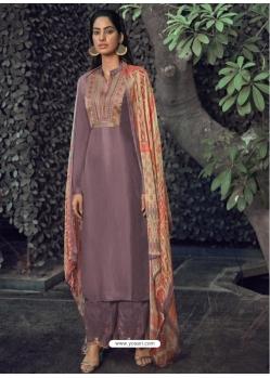 Lavender Designer Party Wear Pure Viscose Silk Straight Salwar Suit