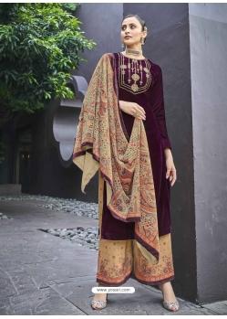 Deep Wine Designer Festive Wear Exotic Velvet Salwar Suit