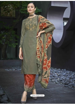 Grayish Green Designer Festive Wear Exotic Velvet Salwar Suit