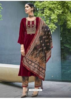 Rose Red Designer Festive Wear Exotic Velvet Salwar Suit