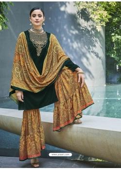 Dark Green Designer Festive Wear Exotic Velvet Salwar Suit