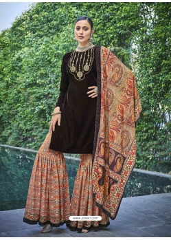 Coffee Designer Festive Wear Exotic Velvet Salwar Suit