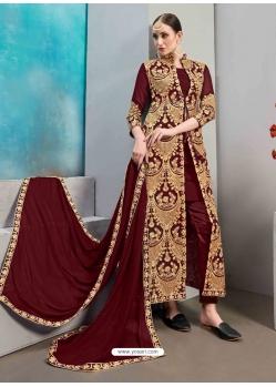 Maroon Designer Wedding Wear Faux Georgette Anarkali Suit