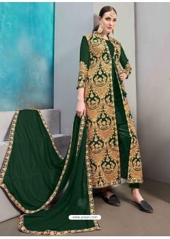 Dark Green Designer Wedding Wear Faux Georgette Anarkali Suit