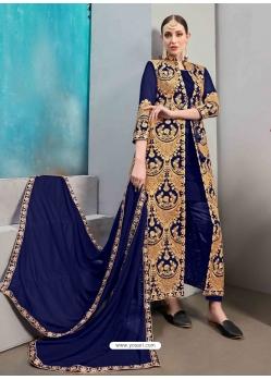 Royal Blue Designer Wedding Wear Faux Georgette Anarkali Suit