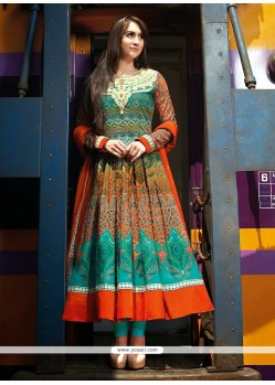 Phenomenal Orange Cotton Anarkali Salwar Suit