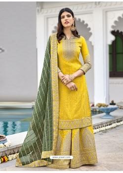 Yellow Readymade Designer Wedding Wear Georgette Salwar Suit