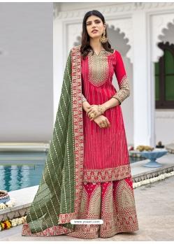 Rose Red Readymade Designer Wedding Wear Georgette Salwar Suit