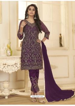 Purple Designer Wedding Wear Net Salwar Suit