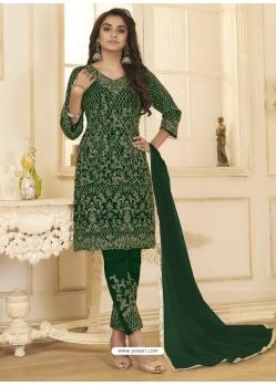 Dark Green Designer Wedding Wear Net Salwar Suit