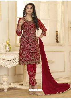 Rose Red Designer Wedding Wear Net Salwar Suit