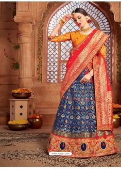 Dark Blue Heavy Designer Wedding Wear Lehenga Choli