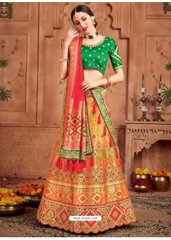 Orange Heavy Designer Wedding Wear Lehenga Choli