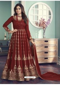 Maroon Designer Wedding Wear Real Georgette Anarkali Suit