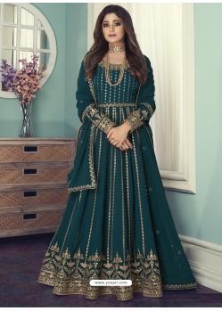 Teal Blue Designer Wedding Wear Real Georgette Anarkali Suit