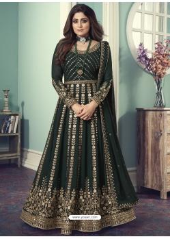 Dark Green Designer Wedding Wear Real Georgette Anarkali Suit