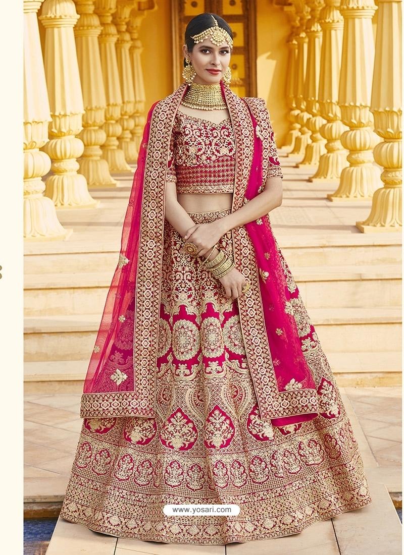 Rani Heavy Designer Bridal Wedding Wear Velvet Lehenga Choli