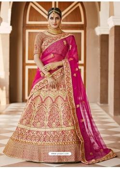 Gold Heavy Designer Bridal Wedding Wear Velvet Lehenga Choli