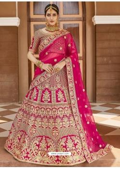 Rose Red Heavy Designer Bridal Wedding Wear Velvet Lehenga Choli