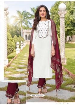 White Readymade Designer Festive Wear Heavy Rayon Salwar Suit
