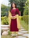 Rose Red Readymade Designer Festive Wear Heavy Rayon Salwar Suit