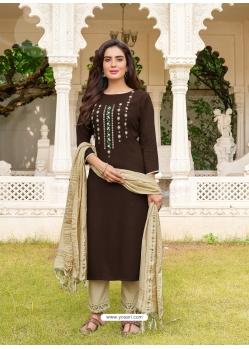 Coffee Readymade Designer Festive Wear Heavy Rayon Salwar Suit
