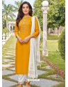 Yellow Readymade Designer Festive Wear Heavy Rayon Salwar Suit